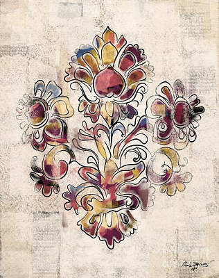 Mixed Media - Vintage Fleur by Carrie Joy Byrnes