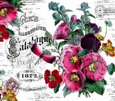 Mt Rushmore Royalty Free Images - Vintage floral Royalty-Free Image by Elizabeth Mix