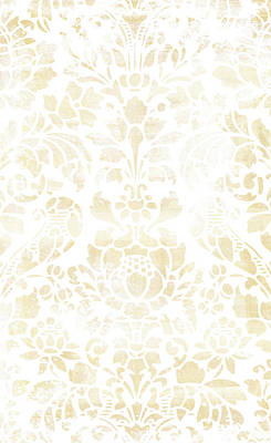 Vintage Floral Pattern White Wash Art Print