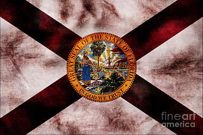 Old Florida Photograph - Vintage Florida Flag by Jon Neidert