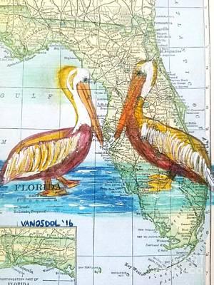 Vintage Florida Map Pelicans Original by Scott D Van Osdol