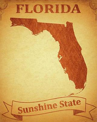 Florida State Mixed Media - Vintage Florida Travel Poster by Dan Sproul