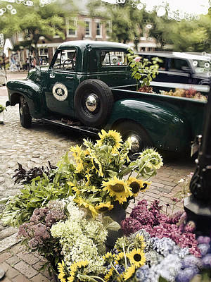 New England Village Photograph - Vintage Flower Truck-nantucket by Tammy Wetzel
