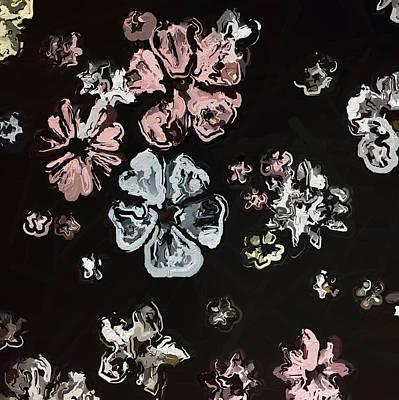 Vintage Flowers On Black Art Print