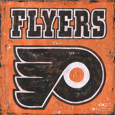 Hockey Player Painting - Vintage Flyers Sign by Debbie DeWitt
