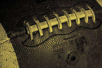 Footballs Closeup Photograph - Vintage Football 4 by David Patterson