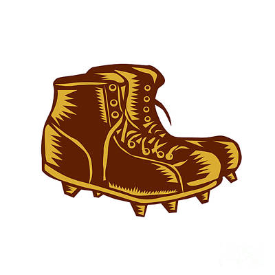 Vintage Football Boots Woodcut Art Print by Aloysius Patrimonio