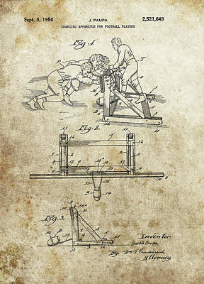 Athletes Drawings - Vintage Football Sled Patent by Dan Sproul