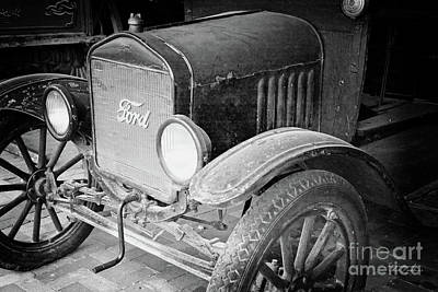 Photograph - Vintage Ford Bw by Inspirational Photo Creations Audrey Woods