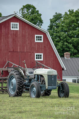 Vintage Ford Farm Tractor With Red Barn Art Print by Edward Fielding