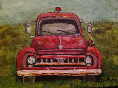 Painting - Vintage  Ford Fire Truck by Belinda Lawson