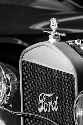 Photograph - Vintage Ford Grille -0007bw by Jill Reger