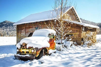Photograph - Vintage Ford In The Snow by Debra and Dave Vanderlaan