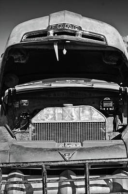 Ford Pickup Photograph - Vintage Ford Pickup Truck -0024bw by Jill Reger