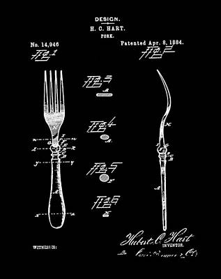 Patents Photograph - Vintage Fork Patent 1884 In Black by Bill Cannon