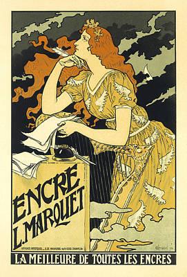 Vintage French Advertising Art Nouveau Encre L'marquet Art Print