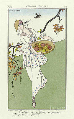Straw Hat Drawing - Vintage French Fashion Plate  Girl Picking Apples by Georges Barbier
