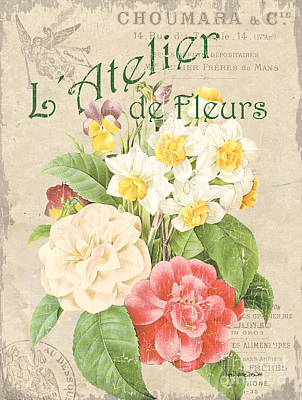 Vintage French Flower Shop 1 Print by Debbie DeWitt