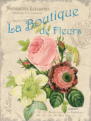 Vintage French Flower Shop 2 Print by Debbie DeWitt