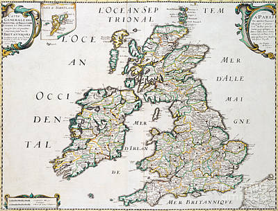 British Isles Wall Art - Drawing - Vintage French Map Of Britain And Ireland by Nicolas Sanson D'Abbeville