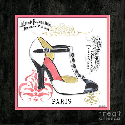 Black Mixed Media - Vintage French Shoes 1 by Debbie DeWitt