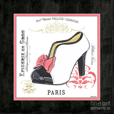 Black Mixed Media - Vintage French Shoes 2 by Debbie DeWitt