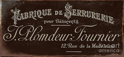 Vintage French Typography Script Sign Print by Mindy Sommers