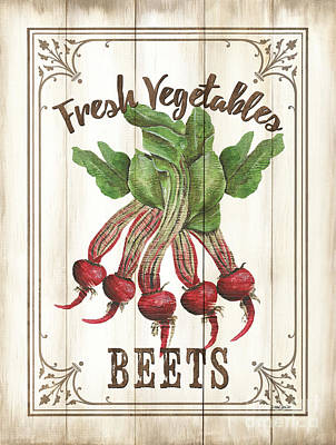 Vintage Fresh Vegetables 1 Art Print by Debbie DeWitt