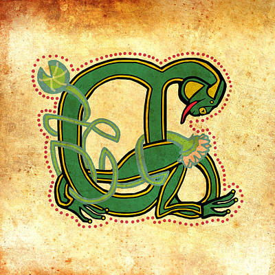 Digital Art - Vintage Frog Letter A by Donna Huntriss