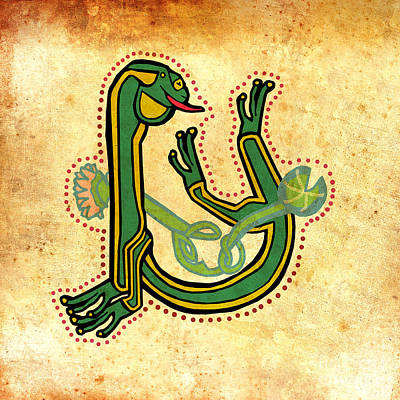 Digital Art - Vintage Frog Letter U by Donna Huntriss