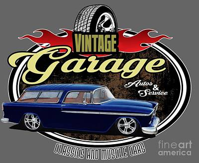 Wagon Mixed Media - Vintage Garage With Nomad by Paul Kuras