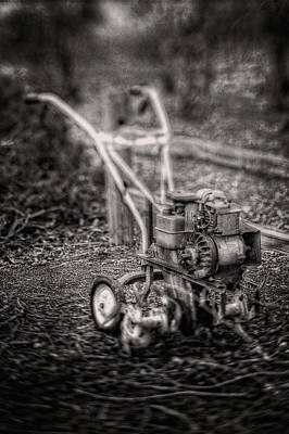 Photograph - Vintage Garden Rototiller Near Split Rail Fence In Black And Whi by YoPedro