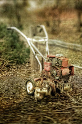 Photograph - Vintage Garden Rototiller Near Split Rail Fence by YoPedro