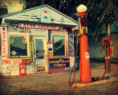 Shell Sign Digital Art - Vintage Gas Station by Kathy M Krause