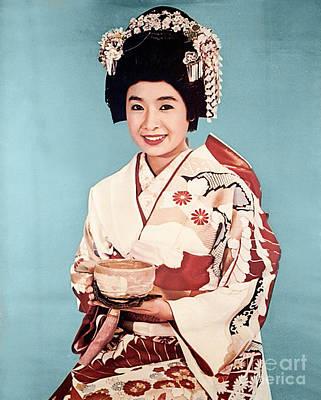 Colorized Image Photograph - Vintage Geisha by Delphimages Photo Creations