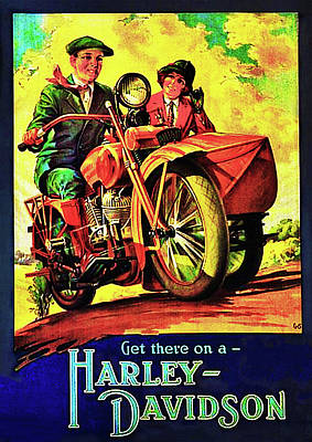 Digital Art - Vintage - Get On A Harley Davidson Poster  by Bill Cannon