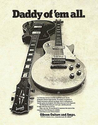 Ad Digital Art - Vintage Gibson Les Paul Ad by Gary Bodnar