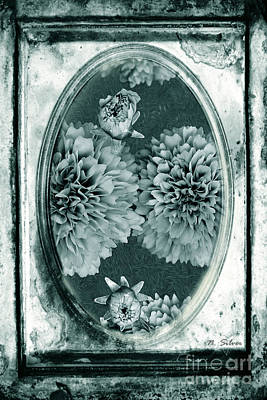 Photograph - Vintage Glass Cyanoplate Dahlias by Nina Silver