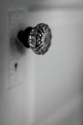 Photograph - Vintage Glass Door Knob Black And White by Terry DeLuco