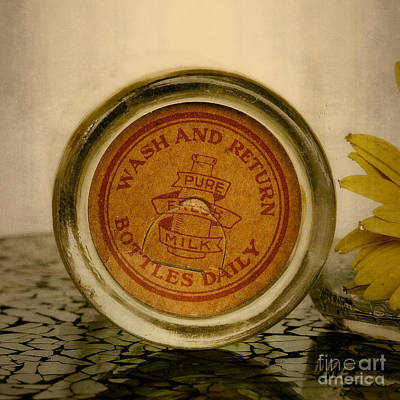 Photograph - Vintage Glass Milk Bottle Lid by Ella Kaye Dickey