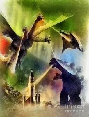Wolfman Painting - Vintage Godzilla by John Springfield