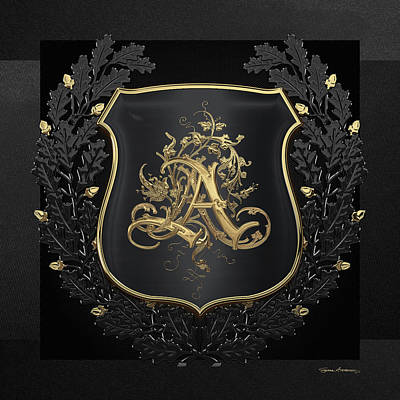 Digital Art - Vintage Gold Aa Monogram On Black Shield With Black Oak Wreath Over Black Canvas by Serge Averbukh