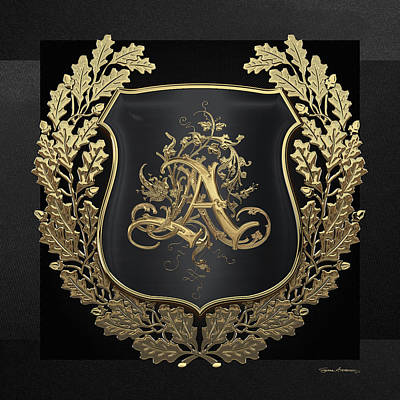Digital Art - Vintage Gold Aa Monogram On Black Shield With Gold Oak Wreath Over Black Canvas by Serge Averbukh