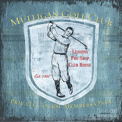 Vintage Golf Blue 1 Art Print by Debbie DeWitt
