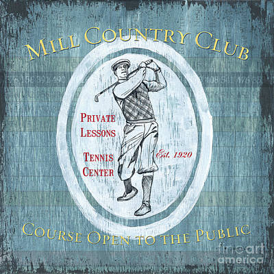 Vintage Golf Blue 2 Art Print by Debbie DeWitt