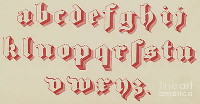 Typographic Drawing - Vintage Gothic Font Red by English School