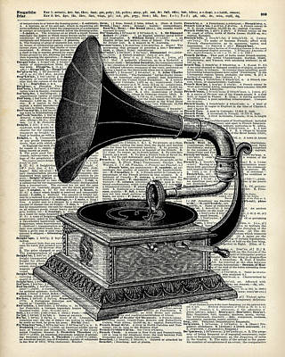 Digital Art Digital Art Drawing - Vintage Gramophone by Jacob Kuch
