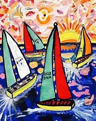 Painting - Vintage Green Bay Sailing by Jonathon Hansen