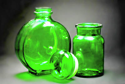Photograph - Vintage Green Glass by Diana Angstadt