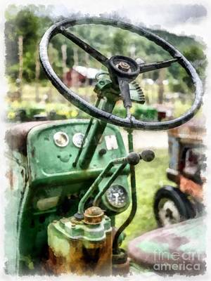 Vintage Green Tractor Steering Wheel Art Print